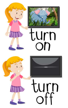 Opposite words for turn on and turn off illustration