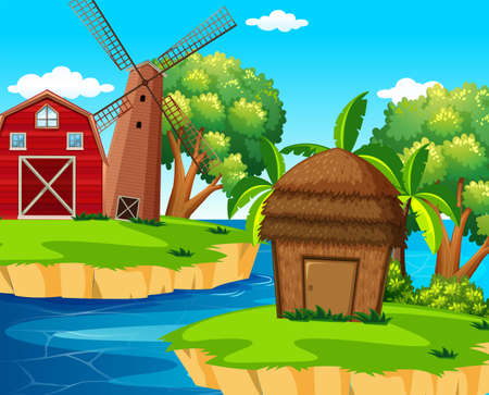 Background scene with barn and windmill on island illustration Illustration