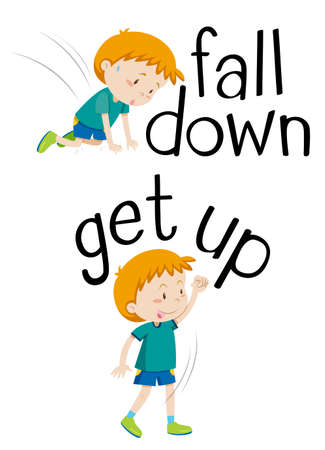 Opposite words for fall down and get up illustration