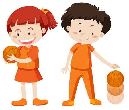 Boy and girl playing basketball illustration