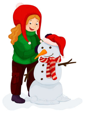 Girl playing with snowman illustration