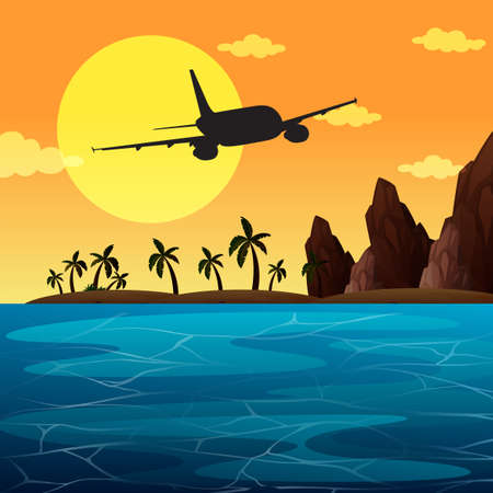 A Background scene with airplane flying over ocean illustration Ilustracja