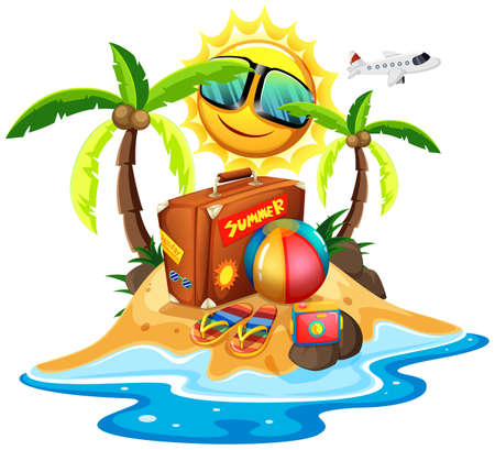 Summer theme with bag and ball on island illustration