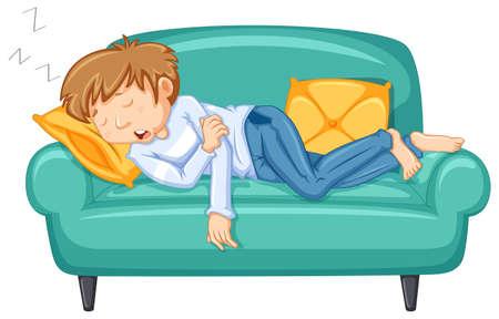 Mężczyzna drzemiący na dużej ilustracji kanapy