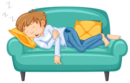 Man taking nap on big sofa illustration Imagens - 96927698