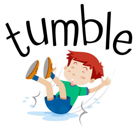 Wordcard for tumble with boy tumbling illustration