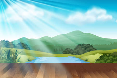 Background scene with park at daytime illustration Illustration