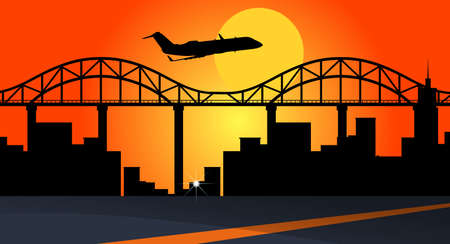 Background scene with airplane flying over city buildings illustration