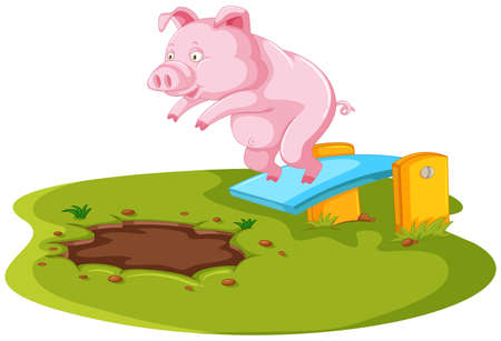 Pig jumping in muddy puddle illustration Illustration