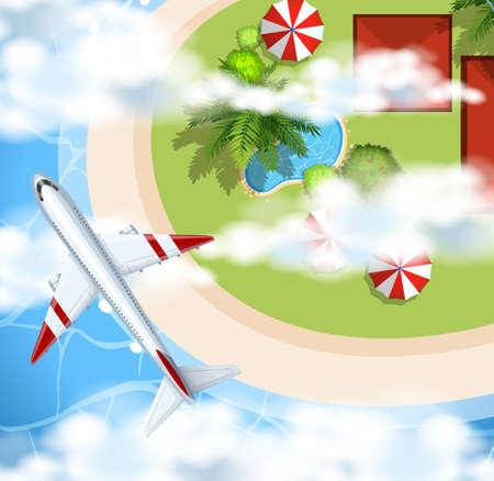 Airplane flying over the park illustration Illustration