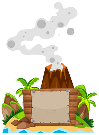 Sign template with volcano in background illustration
