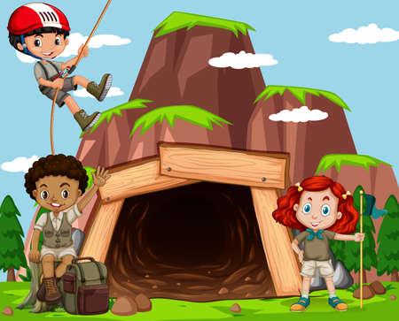 Escena con niños escalando roca en la ilustración de la mina