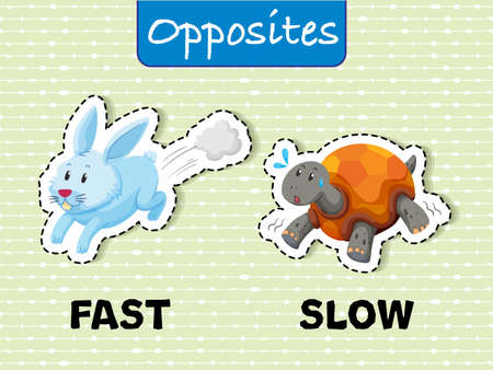 Opposite words for fast and slow illustration