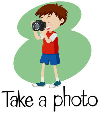Wordcard for take a photo with boy taking photo with camera illustration