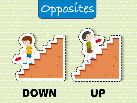 Opposite words for down and up illustration