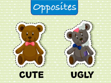 Opposite wordcard for cute and ugly illustration
