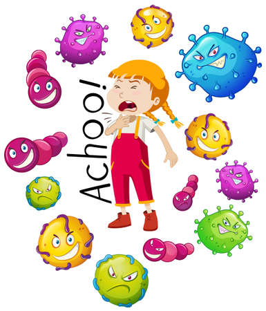 Girl and many virus on white background Vector illustration. Vectores