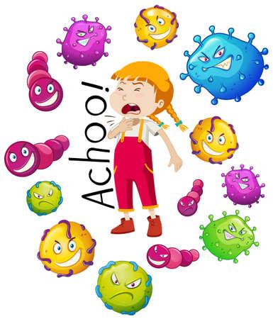 Girl and many virus on white background Vector illustration. 向量圖像