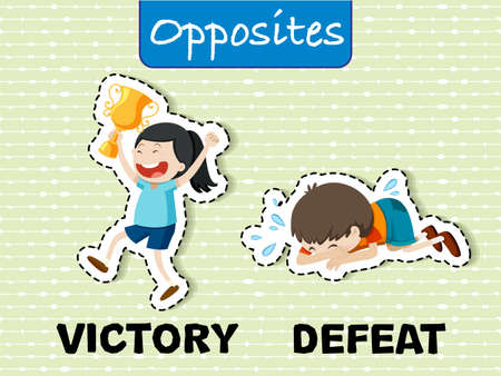 Opposite words for victory and defeat Vector illustration.