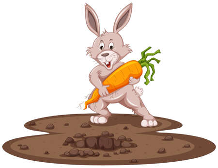 Cute bunny and fresh carrot in garden illustration Stock Illustratie