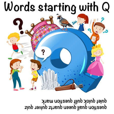 Education poster for words starting with Q Vector illustration. Illustration