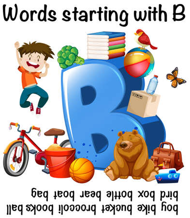 Many words starting with B Vector illustration. Illustration