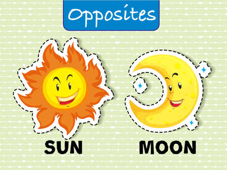 Opposite word card for sun and moon Vector illustration.