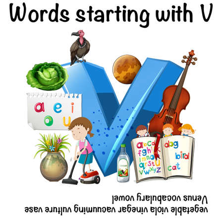 Worksheet for words starting with V Vector illustration.