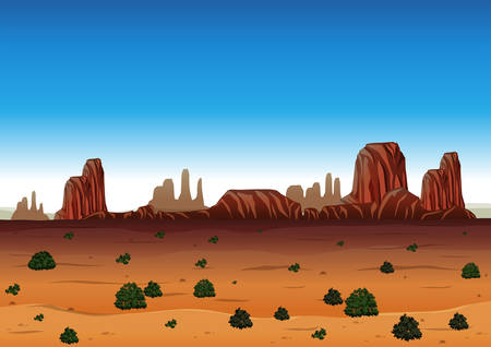Background scene with canyon and field illustration