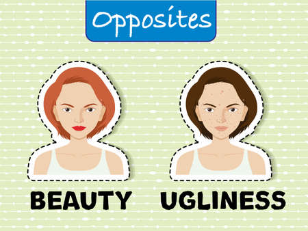 Opposite words for beauty and ugliness illustration Illustration