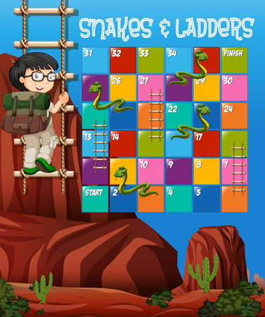Puzzle game template with boy climbing up ladder in background illustration Illusztráció