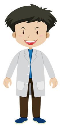 Boy in white gown illustration Çizim
