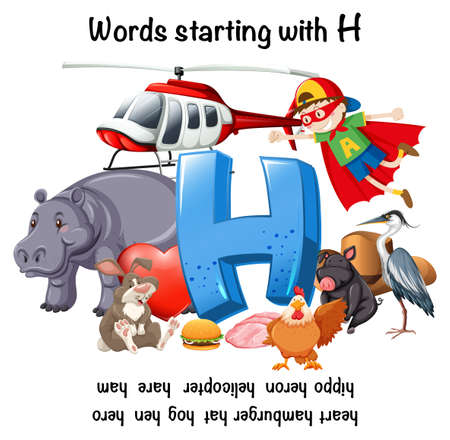 Education poster for words stating with H illustration