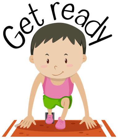 Word card for get ready with boy at the start of the race Vector illustration. Çizim