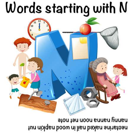 Manifesto di istruzione per le parole che iniziano con l'illustrazione di N