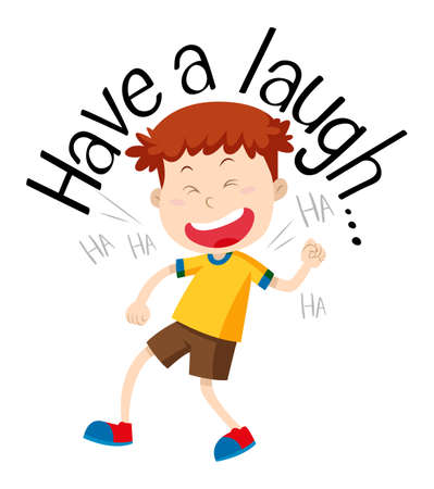Word phrase for have a laugh with boy laughing illustration