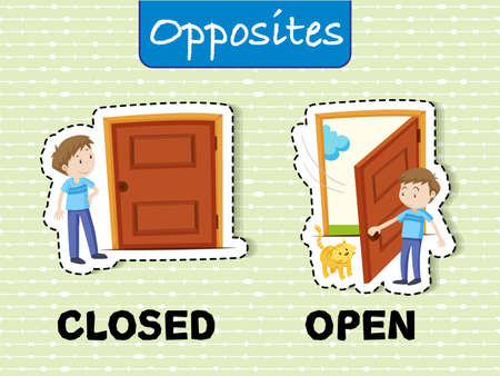 Opposite words for closed and open with corresponding sample vector illustration
