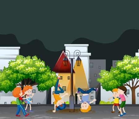 Many kids dancing in the neighborhood park a landscape background illustration Illustration