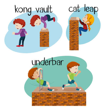 Different vocabulary words for free with corresponding image sample in cartoon illustration