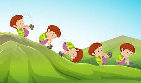 Landscape cartoon vector illustration of a boy playing rolling down the hill. Иллюстрация