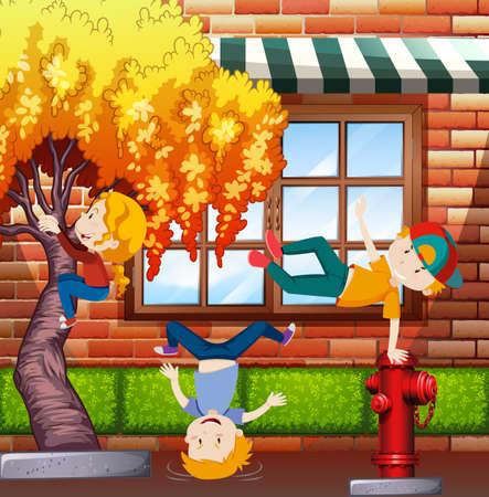 Three kids climbing and flipping on the tree in the neighborhood, cartoon vector illustration