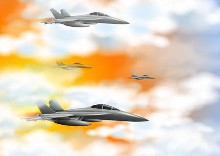 Four fighting jets in an orange sky illustration on a landscape background Illustration