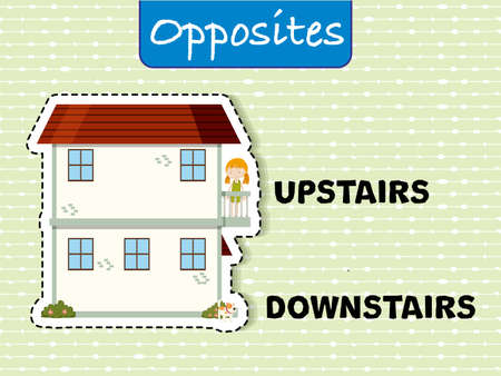 Opposite words for upstairs and downstairs illustration with it's corresponding example Illusztráció
