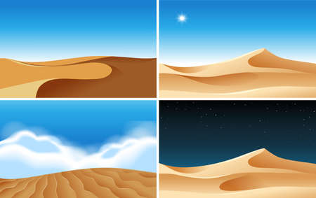 Four landscape background scenes of deserts at different times illustration