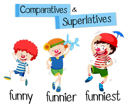 Comparatives and superlatives for word funny with it's corresponding example cartoon illustration