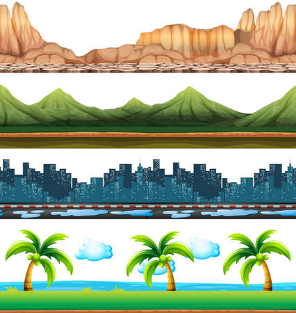 Four scenes of city and nature illustration on a landscape background design