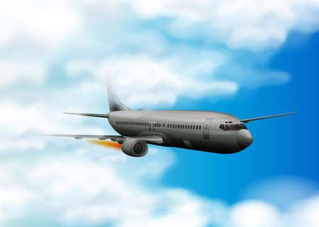 Airplane flying in the blue sky background on a landscape illustration Illustration