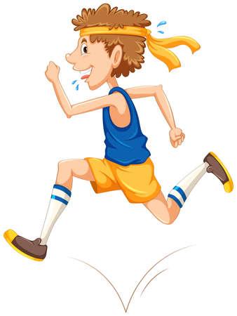 Man running on white background with corresponding sample illustration
