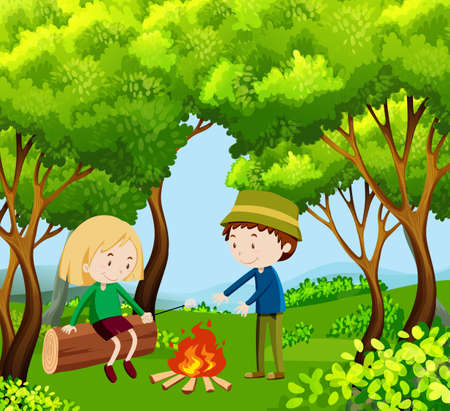 Children camping out in the woods landscape background illustration Illustration