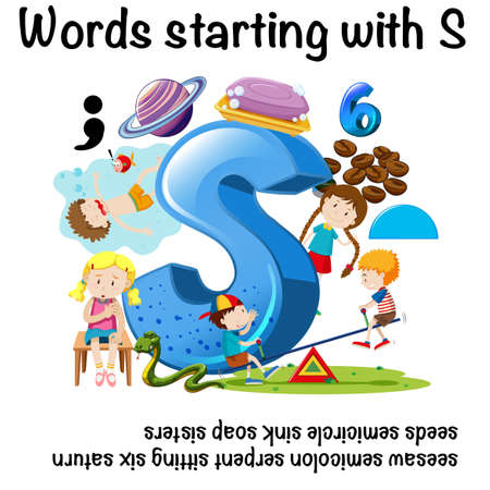 Educational poster design for words starting with S  with corresponding sample illustration Illustration